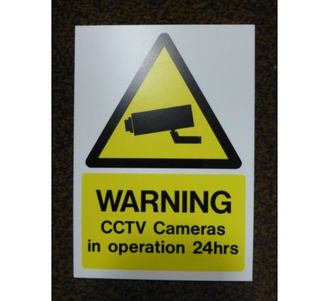 Sign Warning 24hrs Yellow 210 x 297