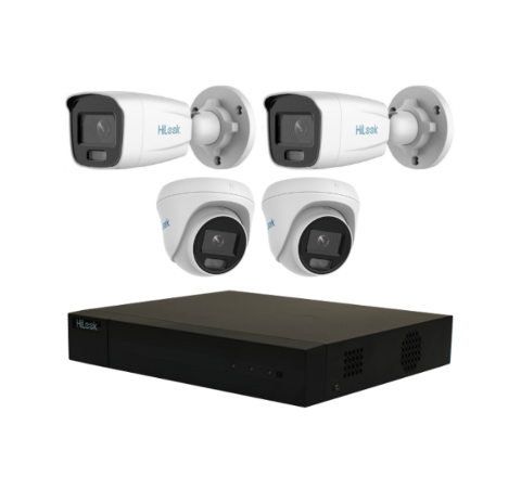 4 Camera HiLook ColorVu Lit Combo Kit