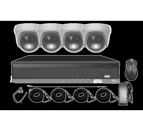 Kit 5MP Full Colour DVR, 4 x 3.6mm Domes, 4 Cables & PSU [3128-1]