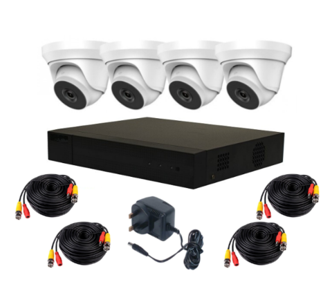4 Camera HiLook by Hikvision 5MP Complete Kit: 4 x Dome, DVR, 10m Cables [3970]