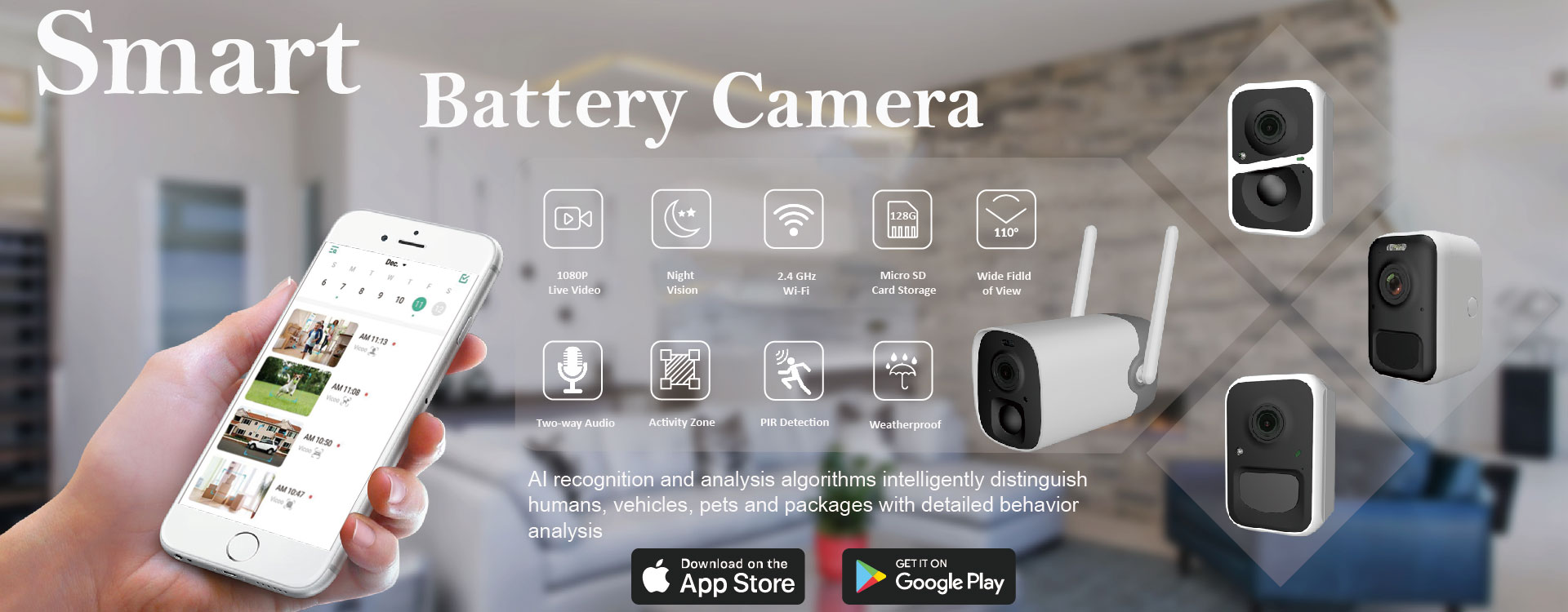 Wireless Battery Powered, Outdoor Smart Home Camera & Magnet